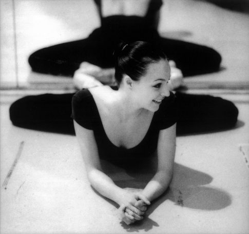 An English National Ballet dancer in rehearsal