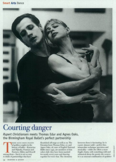 Thomas Edur and Agnes Oaks, Birmingham Royal Ballet dancers, 'Harpers and Queen' magazine cover